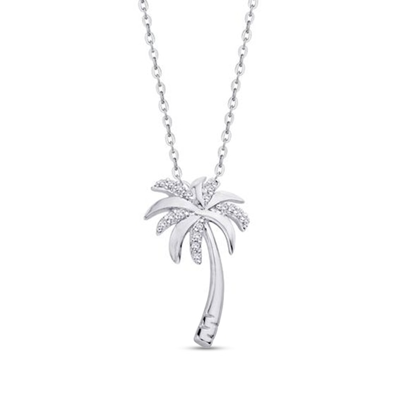 Diamond Accent Palm Tree Pendant in 10K White Gold