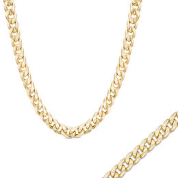Men's 10K Gold 6.7mm Light Curb Chain Bracelet and Necklace Set