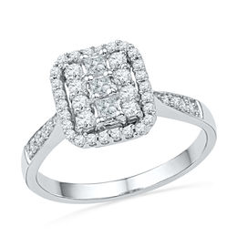 1/2 CT. T.W. Diamond Cluster Square Frame Ring in 10K White Gold