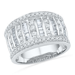 1 CT. T.W. Diamond Multi-Row Anniversary Band in 10K White Gold