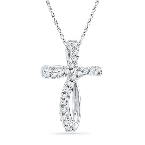 Zales Diamond Accent Twist Cross Pendant in Sterling Silver and 14K Gold JLSbn7