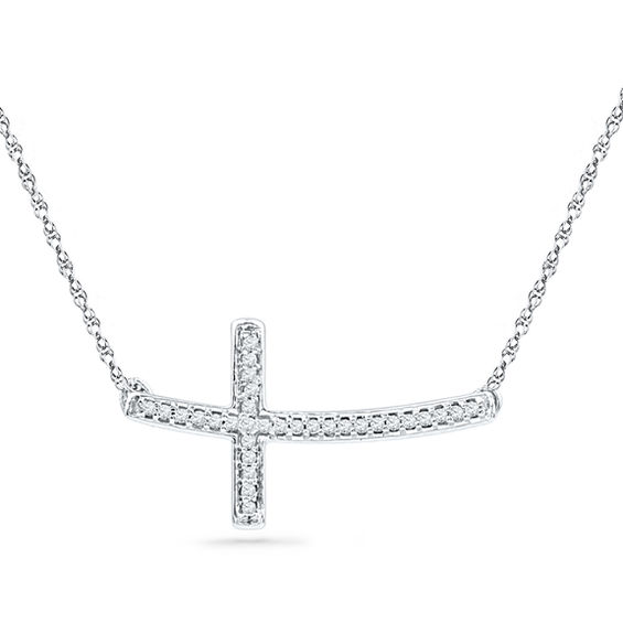 1 10 Ct T W Diamond Sideways Curved Cross Necklace In
