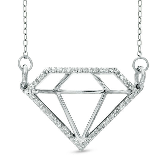 1 8 CT T W Diamond Outline Necklace in Sterling Silver