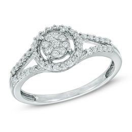 1/3 CT. T.W. Diamond Cluster Frame Ring in 10K White Gold