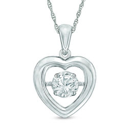 Unstoppable Love™ 5.5mm Lab-Created White Sapphire Heart Pendant in Sterling Silver