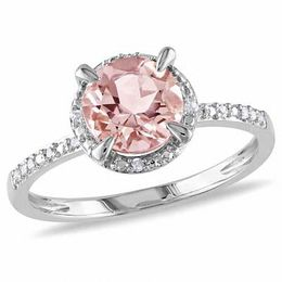 7.0mm Morganite and Diamond Accent Frame Engagement Ring in 10K White Gold