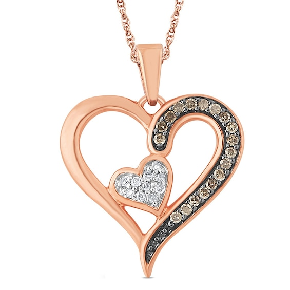 1/10 CT. T.w. Champagne and White Diamond Double Heart Pendant in