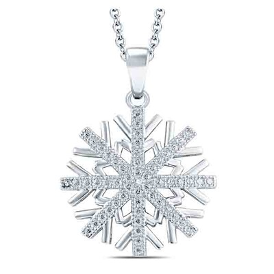 Diamond Accent Snowflake Pendant in Sterling Silver