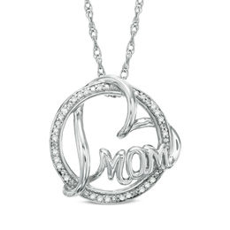 "1/10 CT. T.W. Diamond Circle with ""MOM"" and Heart Pendant in Sterling Silver"