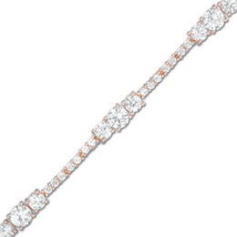 Lab-Created White Sapphire Bracelet in Sterling Silver with 18K Rose Gold Plate - 7.25""