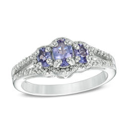Oval Tanzanite and Diamond Accent Three Stone Frame Ring in Sterling Silver - Size 7