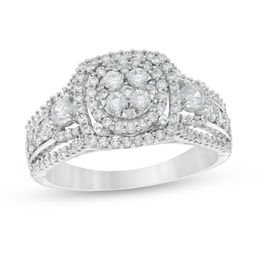 1 CT. T.W. Diamond Cluster Three Stone Style Ring in 10K White Gold