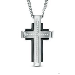 Men's Shaquille O'Neal Diamond Accent Cross Pendant in Two-Tone Stainless Steel - 24""