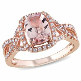 Cushion-Cut Morganite and 1/6 CT. T.W. Diamond Ring in 10K Rose Gold