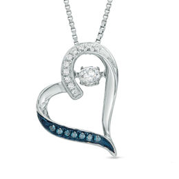 Unstoppable Love™ 1/4 CT. T.W. Enhanced Blue and White Diamond Tilted Heart Pendant in Sterling Silver