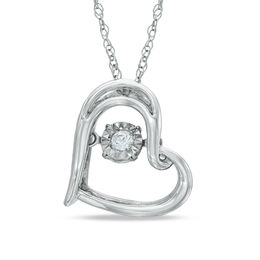 Unstoppable Love™ Diamond Accent Tilted Heart Pendant in Sterling Silver