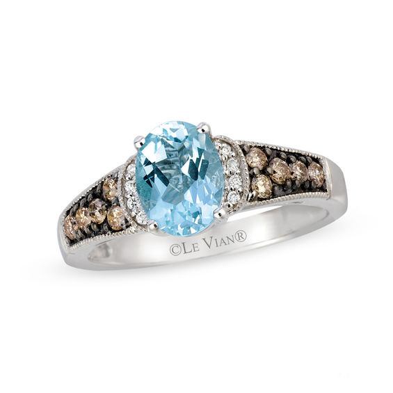 Le Vian Aquamarine Ring 1/4 ct tw Diamonds 14K Vanilla Gold 5MK5i