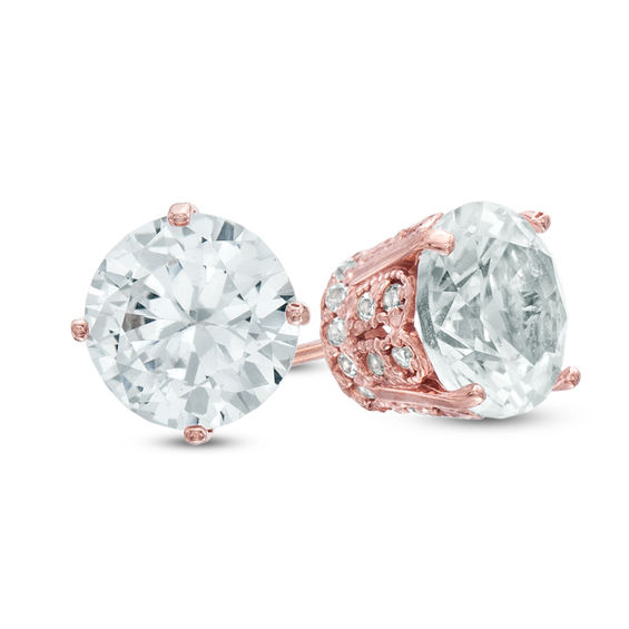 Zales 7.0mm Lab-Created White Sapphire Stud Earrings in 10K Rose Gold Mr1FU