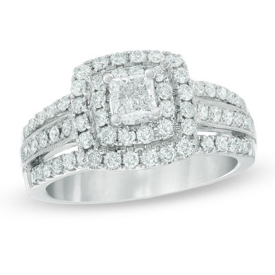577929a784f0eb T.W. Certified Canadian Princess-Cut Diamond Double Frame Engagement Ring  in 14K White Gold (I/I2)