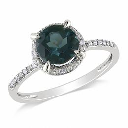 7.0mm London Blue Topaz and Diamond Accent Engagement Ring in 10K White Gold