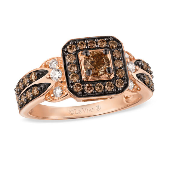 Le Vian Chocolate Diamonds 7 8 CT T W Diamond Square Frame Ring in 14K Str