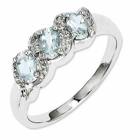 Zales Oval Aquamarine and Diamond Accent Frame Three Stone Ring in Sterling Silver - Size 7