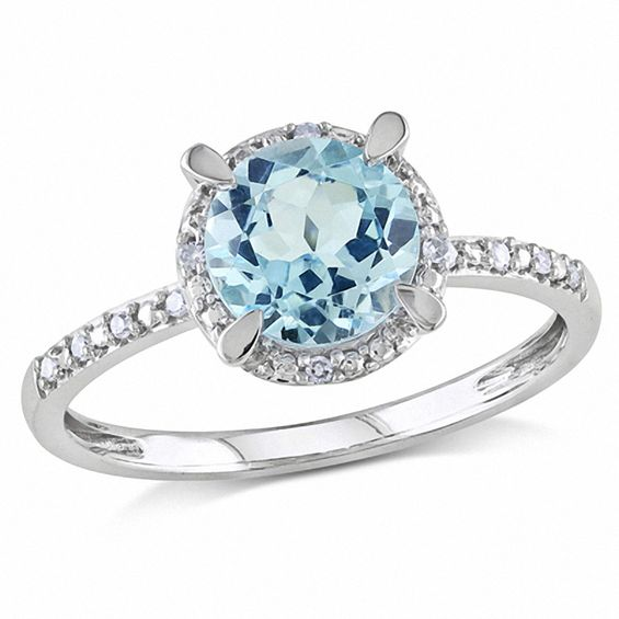 7 0mm Sky Blue Topaz And Diamond Accent Frame Engagement