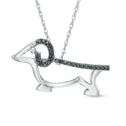 Enhanced Black Diamond Accent Dachshund Pendant in Sterling Silver