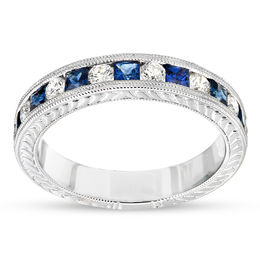 Princess-Cut Blue Sapphire and 1/4 CT. T.W. Diamond Wedding Band in 14K White Gold