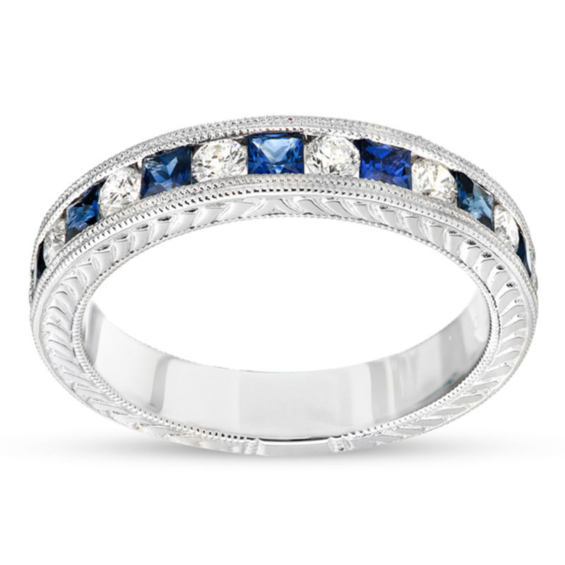 white gold princess cut blue sapphire and 14 ct tw diamond wedding band in - White Gold Wedding Rings