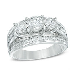 2 CT. T.W. Diamond Past Present Future® Ring in 14K White Gold