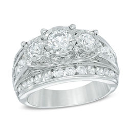 3 CT. T.W. Diamond Past Present Future® Ring in 14K White Gold
