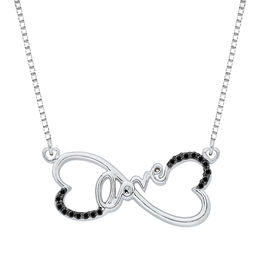 "Enhanced Black Diamond Accent Sideways Heart-Shaped Infinity with ""love"" Necklace in Sterling Silver"