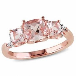 6.0mm Cushion-Cut Morganite and Diamond Accent Three Stone Ring in Rose Rhodium Sterling Silver