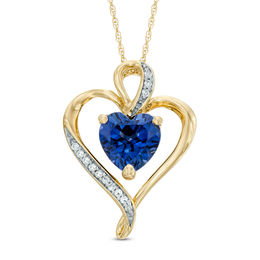 8.0mm Heart-Shaped Lab-Created Blue and White Sapphire Heart Pendant in Sterling Silver with 14K Gold Plate