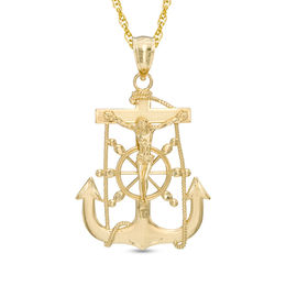 Mariner Cross Necklace Charm in 10K Gold