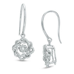 Unstoppable Love™ 1/4 CT. T.W. Diamond Wreath Drop Earrings in 10K White Gold