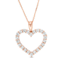1 CT. T.W. Certified Diamond Heart Outline Pendant in 14K Rose Gold (I/I2)