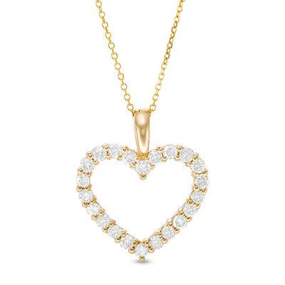 8c52386e62695 1 CT. T.W. Certified Diamond Heart Outline Pendant in 14K Gold (I I2 ...