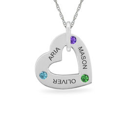 Mother's Simulated Birthstone Heart Pendant in 10K Gold (1-5 Names and Stones)