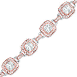 5.5mm Cushion-Cut Lab-Created White Sapphire Bracelet in Sterling Silver with 18K Rose Gold Plate - 7.25""