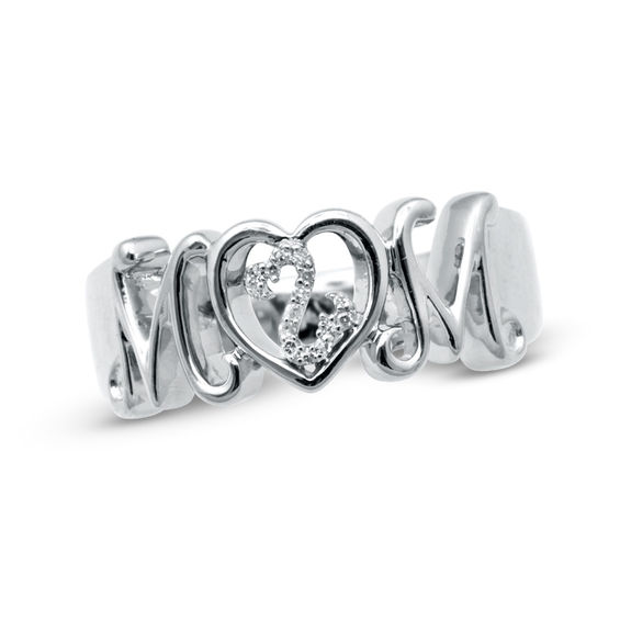 Zales Diamond Accent Mom Heart Ring in Sterling Silver 3dsTp93aIY