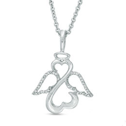 Open Hearts by Jane Seymour™ 1/15 CT. T.W. Diamond Wings and Halo Pendant in Sterling Silver