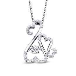 Open Hearts Rhythm by Jane Seymour™ 1/10 CT. T.W. Diamond Motherly Love Pendant in Sterling Silver