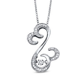 Open Hearts Rhythm by Jane Seymour™ 1/10 CT. T.W. Diamond Curlique Pendant in Sterling Silver