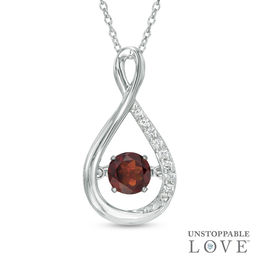 Unstoppable Love™ 5.0mm Garnet and Lab-Created White Sapphire Infinity Pendant in Sterling Silver