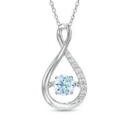 Unstoppable Love™ 5.0mm Lab-Created Blue Spinel and White Sapphire Infinity Pendant in Sterling Silver