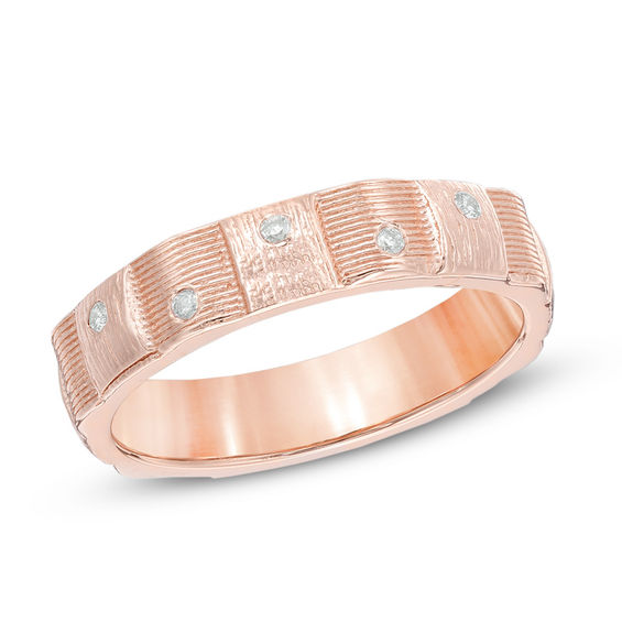 Diamond Accent Weave Band in 10K Rose Gold Wedding Bands Wedding