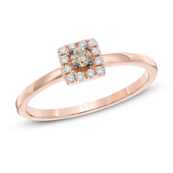 Zales 1/6 CT. T.w. Diamond Square Frame Promise Ring in 10K Gold CEJGkly