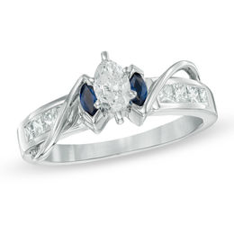 5/8 CT. T.W. Marquise Diamond and Blue Sapphire Three Stone Ring in 14K White Gold